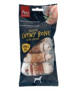 Pets Unlimited Tricolor Chewy Bone w/ Ckn S 4pcs