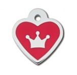 ID Tag - Heart Epoxy Red Crown