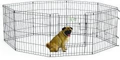 "MidWest Life Stages Exercise Pen with Full MAXLock Door 24"", Black"