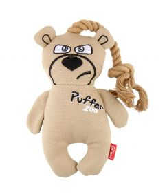 GiGwi Puffer Zoo Bear with Rope Dog Toy