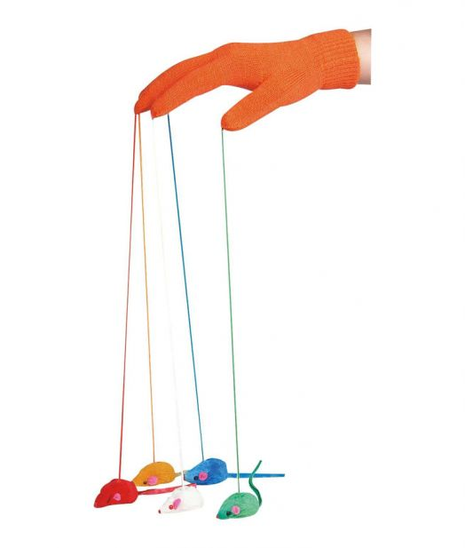 Flamingo Cat Toy Glove with Mice